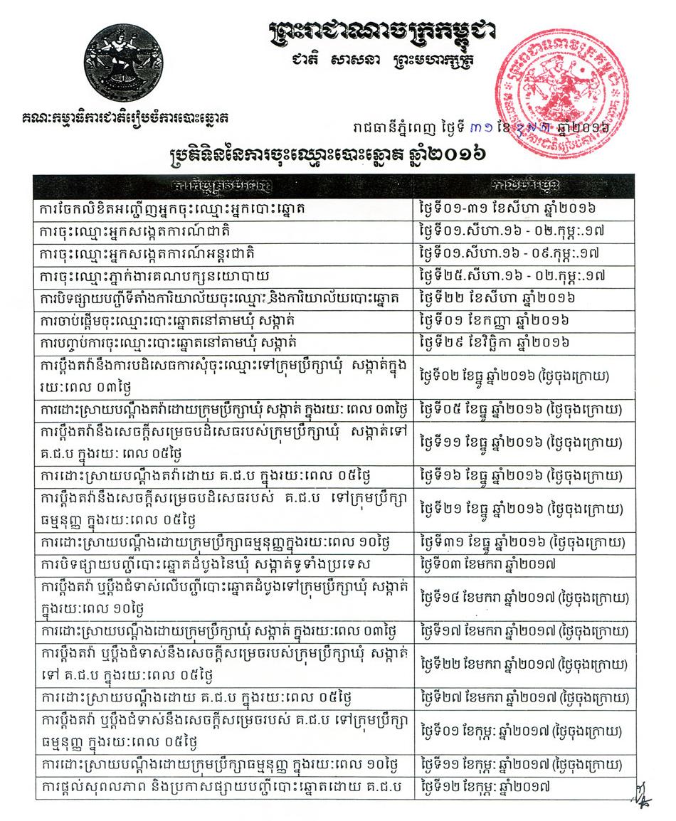 NEC Voter Registration Calendar